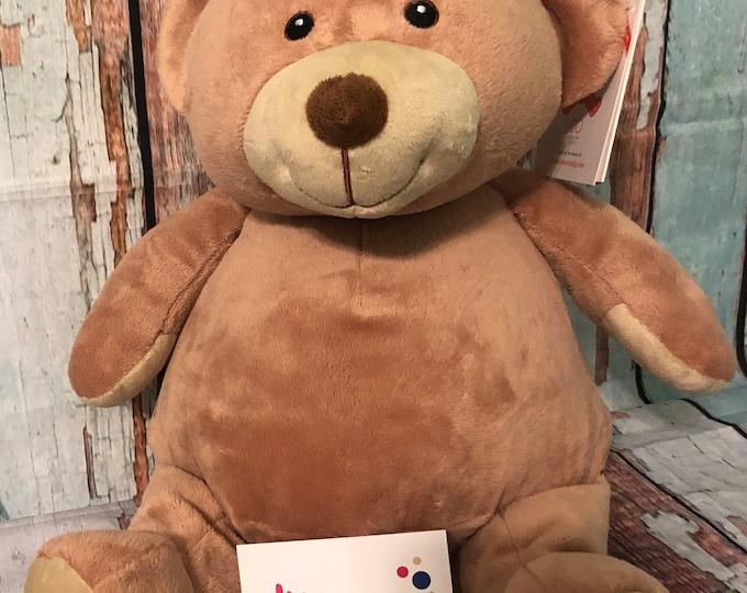 "Personalized 16"" Teddy Bear, Pink Teddy Bear,Brown Bear,  Stuffed Animal, Keepsake Bear,Birth Announcement,Birthday"