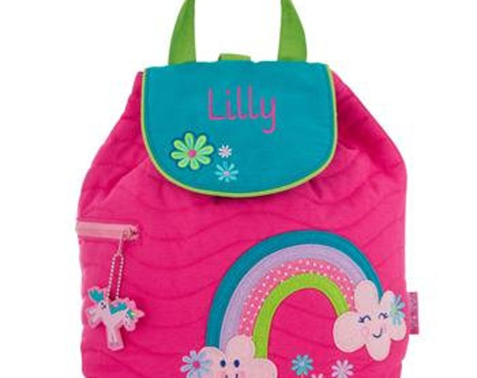 Monogrammed Little Girls Backpack ,Quilted, Free Shipping when ordered on DKWITTLEONES.BOUTIQUE