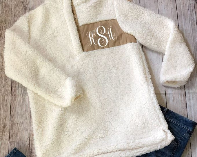 Monogrammed Fleece Pullover | Personalized Sherpa Style Fleece Quarter Zip Pullover Sweatshirt | Christmas Gift