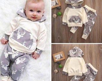 5c62224d66a Baby Boys Deer Long Sleeve Hoodie Outfit Set