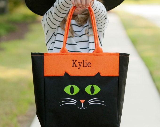 Black Cat Halloween Tote, Monogrammed Tote Bag, Personalized Bag