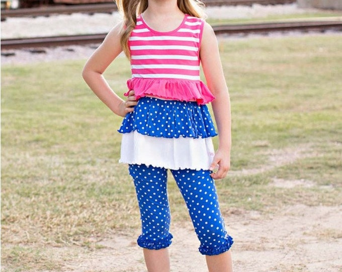 Sapphire Polka Candy Stripe Tank with Leggings