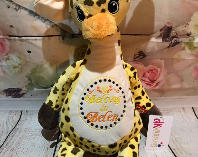Personalized Tumbleberry–Giraffe Cubbie Baby Embroidered Cubbies Stuffed Animal,Gift Birth Announcement ,Gift for Girl-Newest Signature