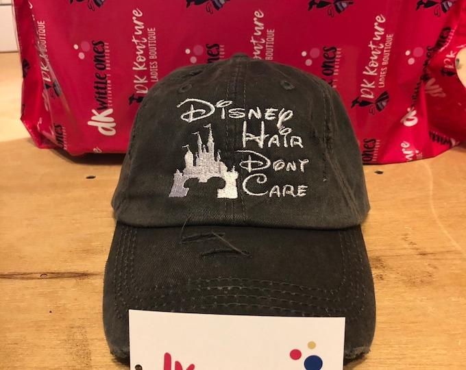 Disney Hair Don't Care Solid Cotton Back High Ponytail Cap, ponytail baseball hat,messy bun baseball hat,Bridesmaid Gift,Mothers day gift