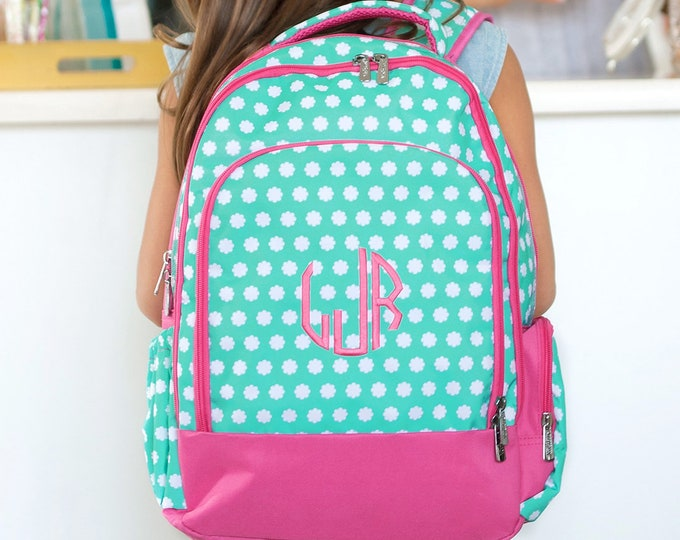 Monogrammed Back pack, Personalized Girls Boys Bookbag Kids School Bag Pink Polka Dot Pink Mint Aqua, Blue Floral Paisley