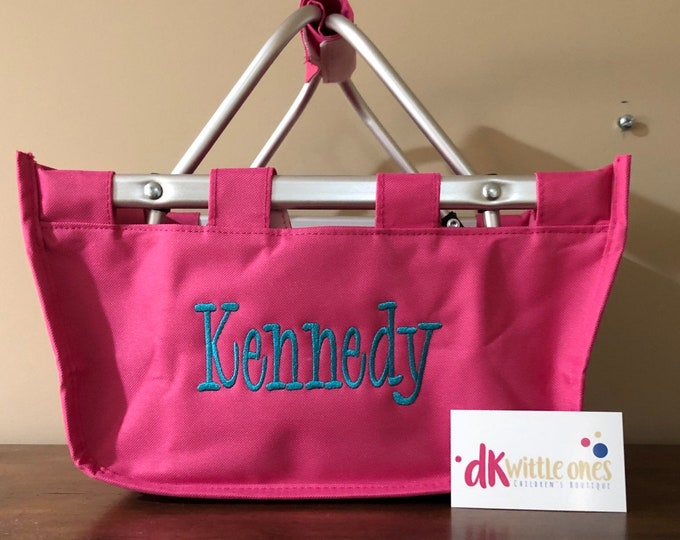 Easter Bucket - Monogrammed Easter Basket, Mini Market Tote, Personalized Easter Basket, Personalized Mini Market Tote