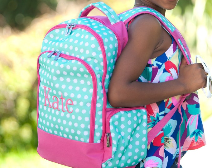 Embroidered Back pack, Personalized Girls Boys Book bag Kids School Bag Pink Polka Dot Pink Mint Aqua, Blue Floral Paisley