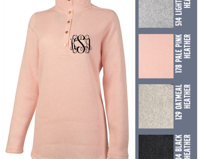 Monogrammed Charles River  Women's Hingham Tunic | Personalized Fleece Quarter Zip Free Shipping when ordered on DKWITTLEONES.BOUTIQUE