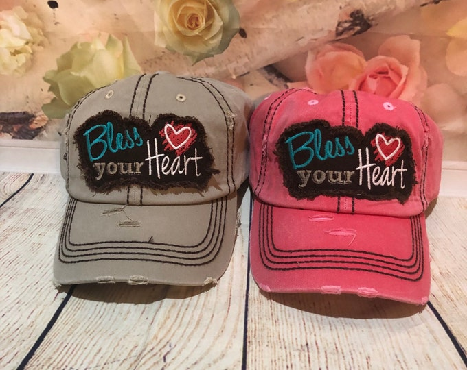 Bless Your Heart Custom Hat, Monogrammed Hat,Personalized Hat, Custom Hat, Unstructured Hat