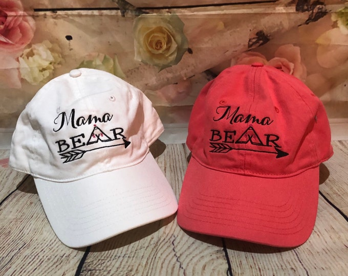 Mama Bear Custom Hat, Monogrammed Hat,Personalized Hat, Custom Hat, Unstructured Hat