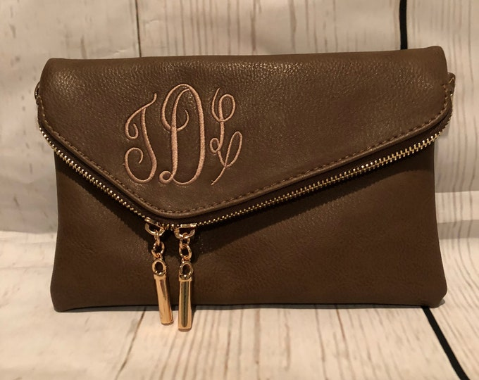 Monogrammed Envelope Clutch/Cross body Bag,Gift for mom, Birthday gift,bridal gift, Bridesmaid