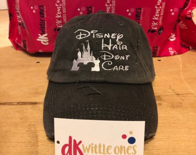 Adult Disney Hair Don't Care Unstructured  Cap, Gift for her, Mothers Day, Birthday Gift,bridesmaids hats, bridesmaid gift