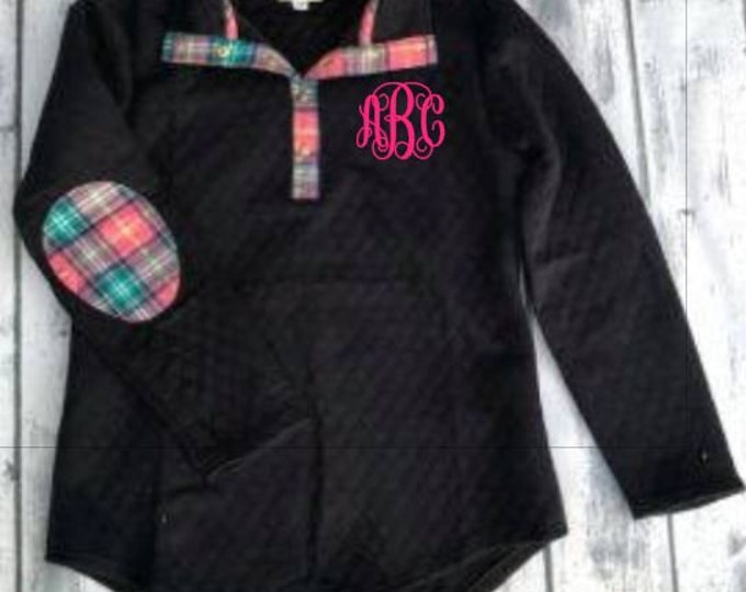 Monogram Quilted Pullover Tunic with  Plaid Elbow Patches,Black,navy,Ivory,Gray,
