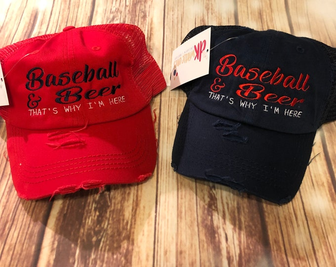 Baseball and Beer High Ponytail Meshback Cap, ponytail baseball hat,messy bun baseball hat,Bridesmaid Gift,Mothers day gift