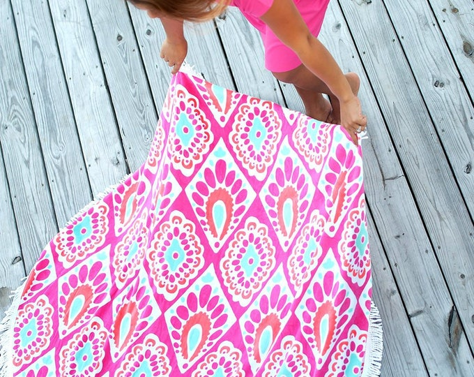 Personalized Pink Aqua Ikat Circle Beach Towel- Beachy Keen Sand Circle- Monogrammed Towel