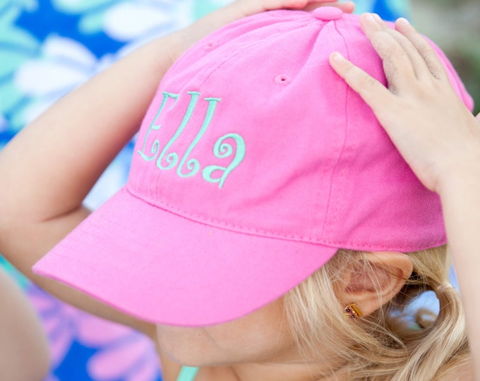 Monogrammed Kid's Baseball Hat Youth  Embroidered Initials Ball Cap Beach Trucker Personalized Hat Gift