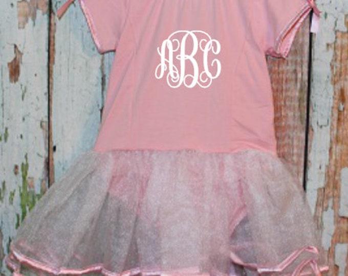 Monogrammed Short Sleeve Pink & White Tutu Leotard