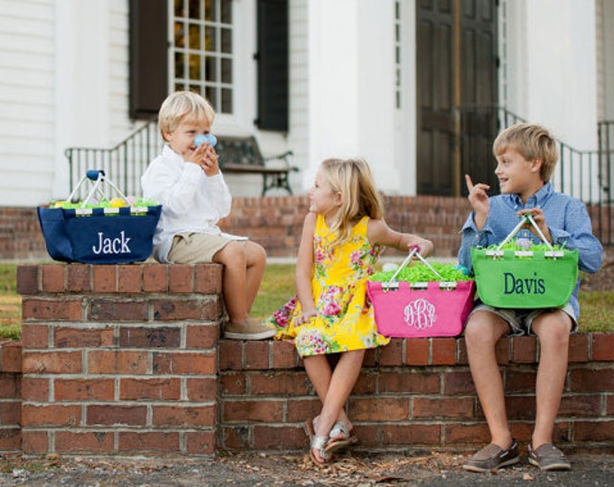 Easter Bucket - Monogrammed Easter Basket, Mini Market Tote, Personalized Easter Basket, Personalized Mini Market Tote