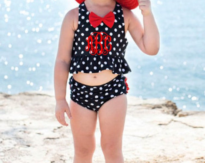 Vintage Bow Polka Dot  Peplum Tankini,Toddler Swimwear-Free Shipping when ordered on our Website: DKWITTLEONES.BOUTIQUE