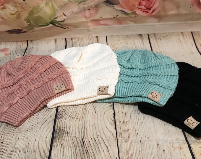Monogrammed Ponytail  Beanies, Cable Knit Ribbed Beanie, Monogram Hats, Sweater Beanie
