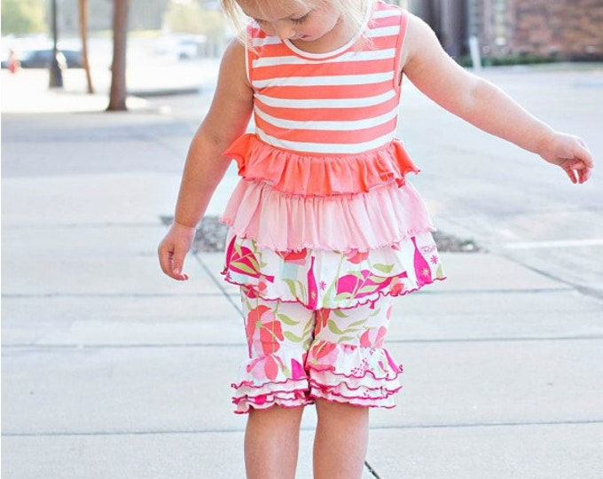Sweet Stems Coral Stripe Tiered Tank with Bermuda Shorts