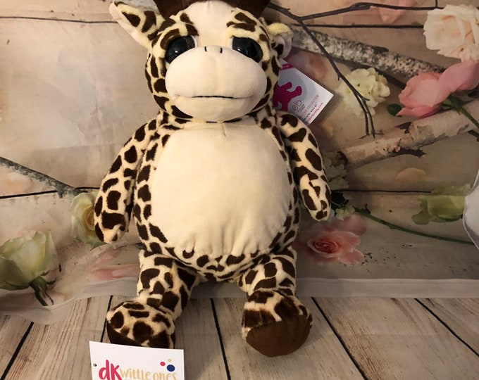 Personalized Giraffe Baby Embroidered , Stuffed Animal,Gift Birth Announcement ,Gift for Girl