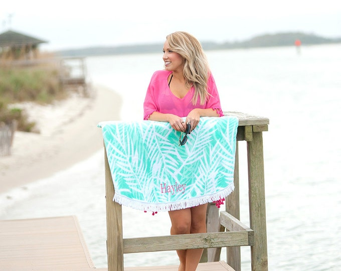 Monogrammed Beach Towels, Poolside Palm Sand Circle, Persoalized Beach Towel, Personalized Sand Circle, Bridesmaid Gift, Beach Towel