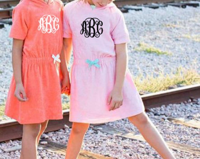 Monogrammed Bow Terry Cover up,Girls Swim, Summer ,White, Pink, Coral