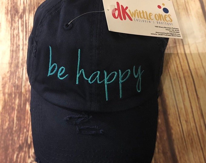 Monogrammed Be Happy High Ponytail Cotton Solidback Cap, ponytail baseball hat,Free Shipping when ordered on DKWITTLEONES.BOUTIQUE
