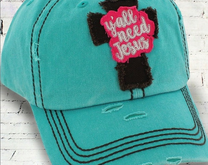 Y'all Need Jesus Custom Hat, Monogrammed Hat,Personalized Hat, Custom Hat, Unstructured Hat