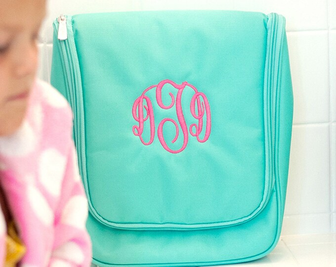 Hanging toiletry bag, travel case, monogrammed toiletry, cosmetic bag, vacation necessity bag, travel bag, personalized travel bag