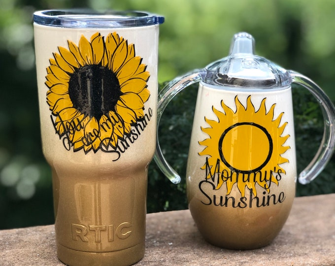 Sunflower Mommy and Me Glitter Ombre' Powder Coated Double Insulated Tumblers