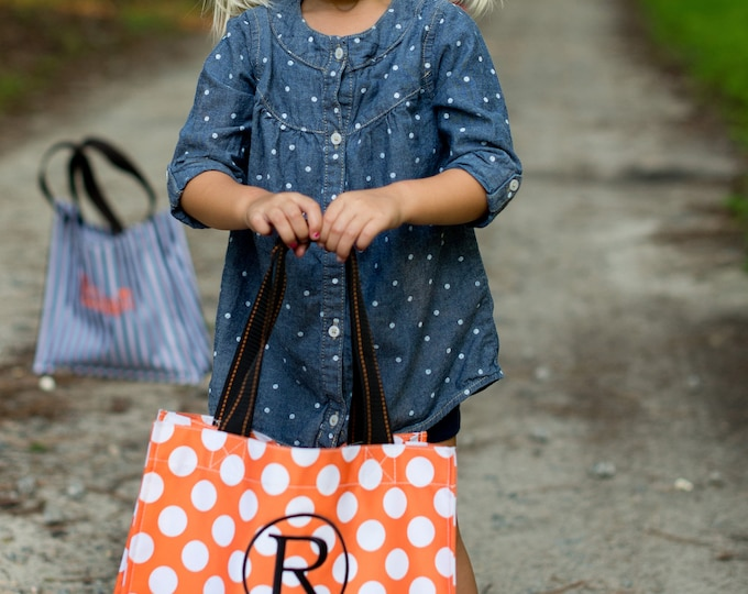 Personalized Orange Dot Halloween Tote , Monogrammed Tote Bag, Personalized Bag
