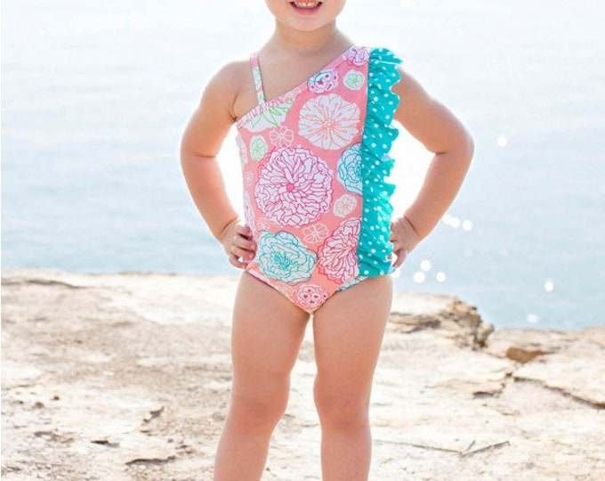 Tropical Garden Polka Dot Ruffle One Piece