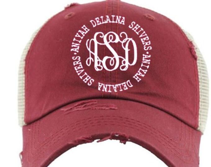 Monogrammed Name Circle Solid Mesh Back High Ponytail Cap, ponytail baseball hat,messy bun baseball hat,Bridesmaid Gift,Mothers day gift