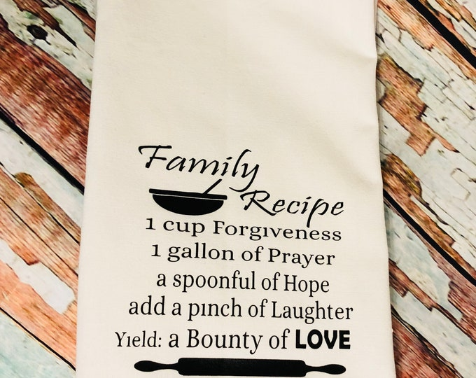 Family Recipe -Funny Dish Towels  Housewarming Gift - Funny Towels - Gift For Mom - Wedding Gift - Hand Towel - Wedding Shower Gift