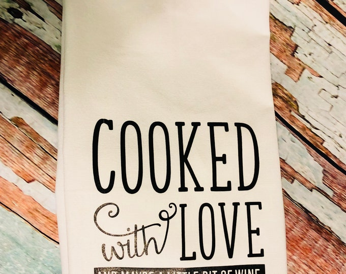 Cooked with Love -Funny Dish Towels  Housewarming Gift - Funny Towels - Gift For Mom - Wedding Gift - Hand Towel - Wedding Shower Gift