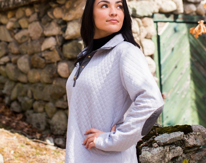 Monogram Gray Quilted  Pullover Tunic with Dark Gray patches,Free Shipping when ordered on our Website: DKWITTLEONES.BOUTIQUE