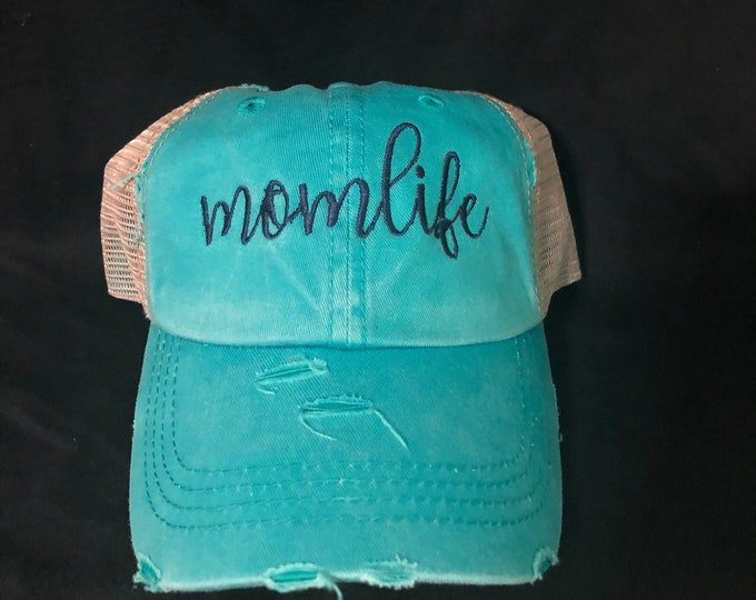 Monogrammed Mom life High Ponytail Meshback Cap, ponytail baseball hat,messy bun baseball hat,Bridesmaid Gift,Mothers day gift