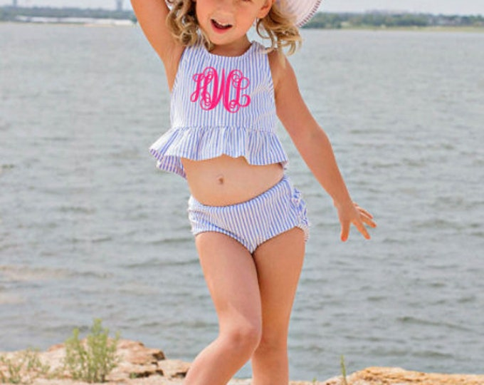 Blue Seersucker Peplum Tankini,Toddler Swimwear
