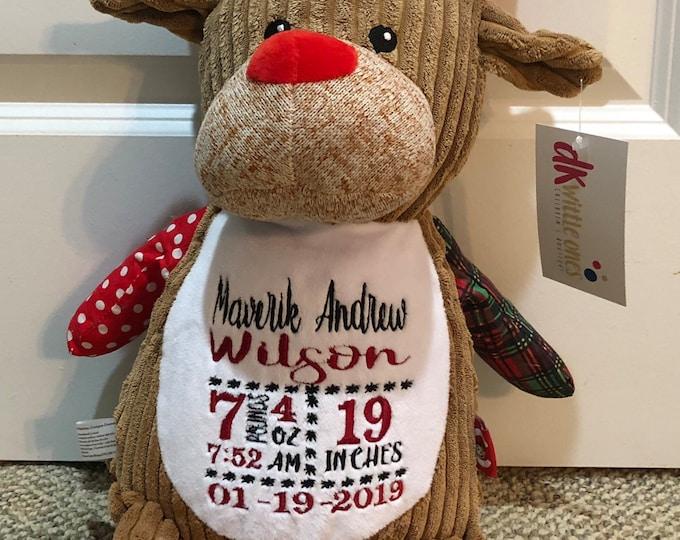 Personalised reindeer cubbie christmas teddy , personalised teddy , baby Valentines gift , babies first Valentine