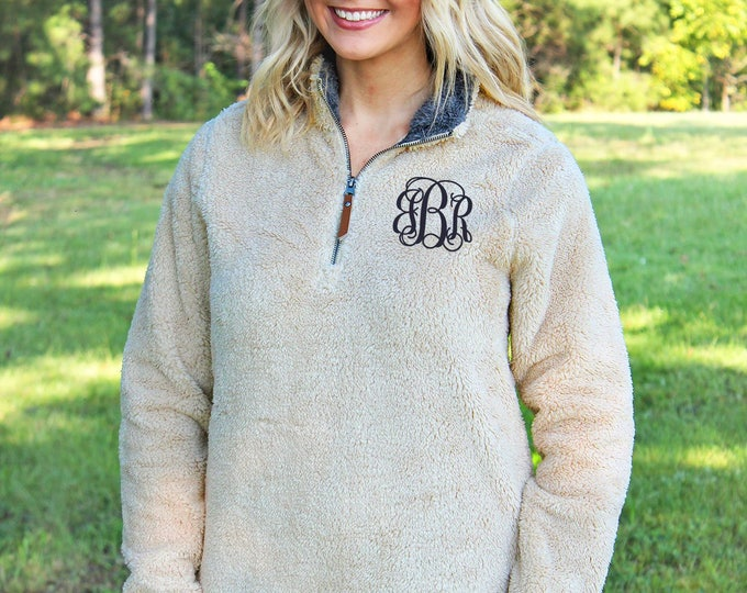 Monogrammed Charles River Newport Fleece | Personalized Sherpa Style Fleece Quarter Zip Pullover Sweatshirt | Christmas Gift