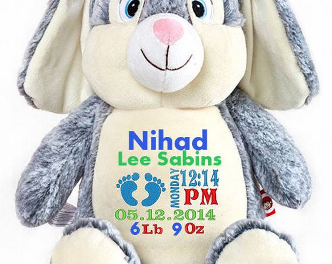 "Personalized Baby Gift, ""Baby Cubbies"" the Rabbit, Birth announcement stuffed animal keepsake, Easter Gift,Baby Shower"