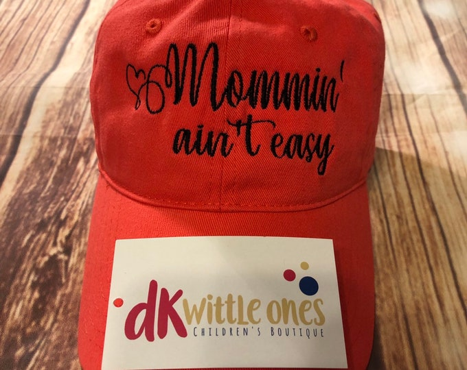 Mommin' ain't easy High Ponytail  Cotton Back Cap, ponytail baseball hat,messy bun baseball hat,Bridesmaid Gift,Mothers day gift