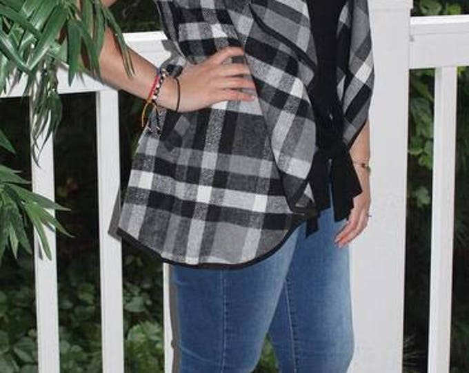 Monogrammed Black and White Plaid Vest,Personalized,Monogrammed, Christmas Gift for her