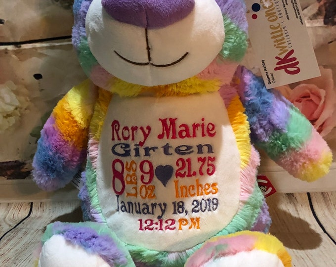 Rainbow Baby Teddy Bear, Personalized Cubbie, Stuffed Animal, Keepsake Bear,Birth Announcement,Birthday