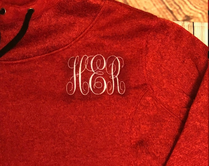 Cowlneck Pullover Hoodie with Thumbholes,Monogrammed, Embroidered Gift