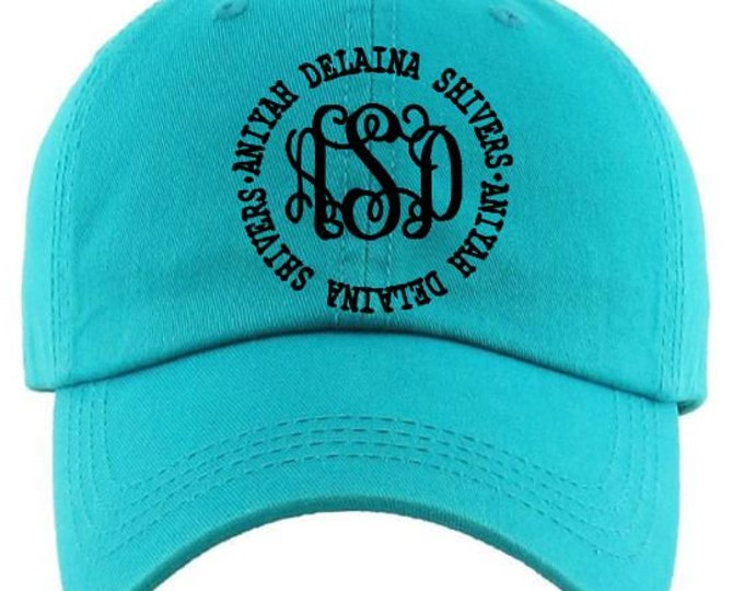 Monogrammed Name Circle Cotton Cap, Beach baseball hat, baseball hat,Bridesmaid Gift,Mothers day gift