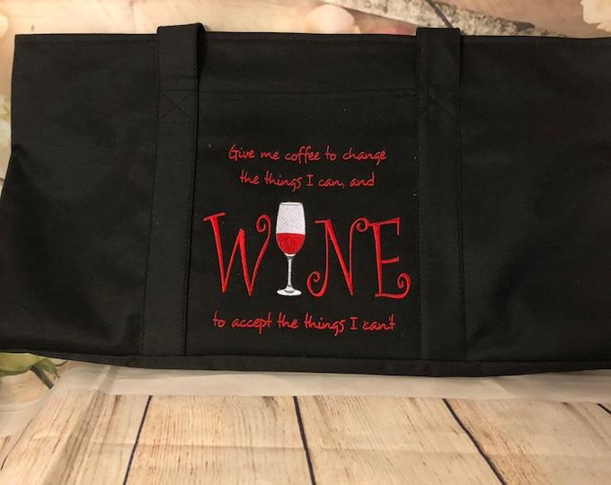 Large Black Canvas Monogrammed Tote Bag, Monogram Tote Bag, Personalized Tote, Women's Large Tote, Wedding Gift, Bridesmaid Gift