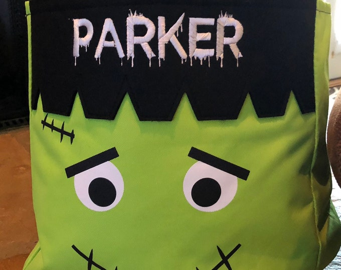 Black & Green Frankenstein Halloween Tote, Monogrammed Tote Bag,Free Shipping when ordered on our Website: DKWITTLEONES.BOUTIQUE